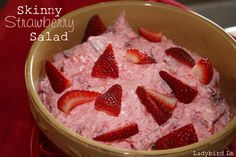 Skinny Strawberry Salad!  Great for potlucks, and only 1 Weight Watchers (Points Plus) Point!      1 (.6 oz) package Sugar Free Strawberry Instant Jell-O  1 (1 oz) package Sugar Free Fat Free Instant Chessecake Jell-O pudding  2 TBS instant tapioca  3 cups water  8 oz container Free Cool Whip  2 cups Strawberries Chopped
