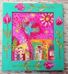 Color de rosa arte popular Ave de fantasía