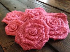 Six Pink Burlap Flowers by SimplySouthernCrafts on Etsy, $10.00