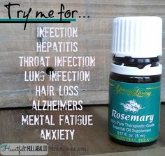 Young Living's Rosemary. Try me for infection, hepatitis, throat infection, lung infection, hair loss, alzheimers, mental fatigue, anxiety. Heartfelt Hullabaloo #essentialoils