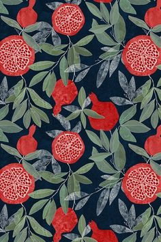 Pomegranate garden on dark by lavish_season - Hand. Pomegranate garden on dark by lavish_season – Hand illustrated pomegranate pattern on a dark background on fabric, wallpaper, and gift wrap. Bright red pomegranates with olive green leaves. Motifs Textiles, Textile Patterns, Print Patterns, Graphic Patterns, Fruit Pattern, Pattern Art, Plants Pattern, Red Pattern, Surface Pattern Design