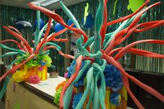 Pool noodles as coral! Ocean Commotion decoration ideas for water-themed VBS #vbs2016