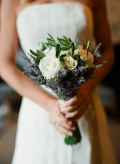Lavender and white roses bouquet
