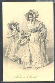 PW198-MM-VIENNE-Nr342-SCHUBERT-MOTHER-DAUGHTERS-HAT-FAN