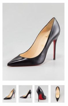 Christian Louboutin Decollete Calfskin Pointed-Toe Red Sole Pump