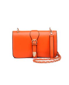 Orange Structured Rectangular Bag with Twin Compartments