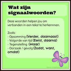 Signaalwoorden Learn Dutch, Dutch Language, School Info, Coaching, Spelling And Grammar, Classroom Inspiration, School Hacks, Learning To Be, Kids Education