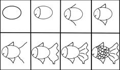 how to draw a fish- writing corner prompt Easy Animal Drawings, Easy Drawings, Drawing Lessons For Kids, Art Lessons, Directed Drawing, 4th Grade Art, Drawing Projects, Fish Art, Step By Step Drawing