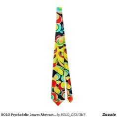 BOLO Psychedelic Leaves Abstract Satin Power Tie