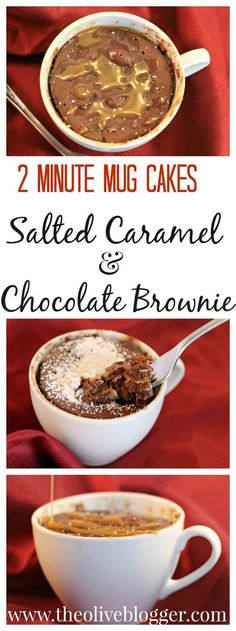 Microwave Mug Cake Recipes - Salted Caramel and Chocolate Brownie Two Minute Mug Cake Recipes! Features a Salted Caramel Mug Cake AND a Chocolate Brownie Mug Cake with a Ooey Peanut Butter middle! Your new go-to dessert any night of the week! Salted Caramel Chocolate, Chocolate Mug Cakes, Chocolate Caramels, Chocolate Brownies, Chocolate Recipes, Caramel Recipes, Chocolate Color, Chocolate Cheesecake, Chocolate Truffles