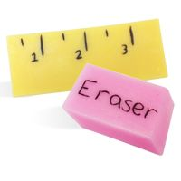 DIY Melt and Pour Soap Recipe: School ruler & Eraser. Fun back to school project for kids.