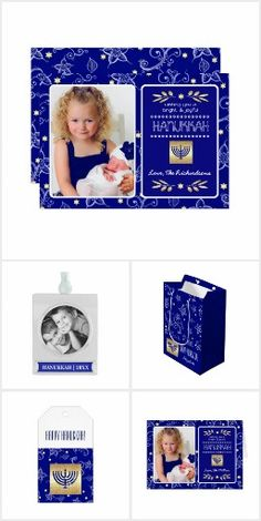 HANUKKAH PHOTO CARDS & GIFTS. Collection of modern and bold design Hanukkah photo cards and gifts for the whole family. From the Mairin Studio store at zazzle.com