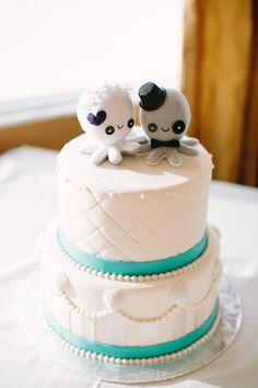 White & Teal Octopus Wedding Cake - Destination Wedding in St. Pete Beach, Florida - St. Petersburg Wedding Photographer Sophan Theam Photography