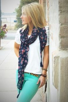 green skinny, white top, blue floral scarf