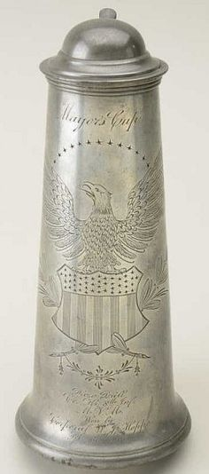 Mayor's Cup,engraved American Eagle -Shield. Prize drill Co.H,8th Infantry,MVM(Mass Volunteer Militia) WoN, Cpl. W.J.Hoppe,Feb.14,1907.Reed & BartoN NO.0240S.12-3.8IN