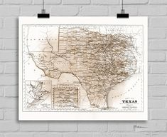 Old Texas Antique Map Repro Milk Chocolate  Poster Print on Photo Paper 24x30 and Smaller