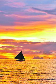 Beautiful sunset at Boracay, Philippines