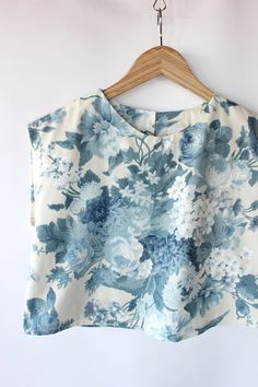 Vintage 60s Cropped Blue Floral Print Cotton Top // Spring Sleeveless Blouse. $36.00, via Etsy.