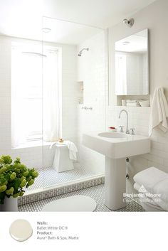 Clean, crisp and refreshed. Create your own bathroom oasis with Benjamin Moore Aura Bath & Spa paint in 'Ballet White OC-9'. Aura Bath & Spa is specially formulated to resist mildew growth in humid areas such as bathrooms. #ColorTrends2016