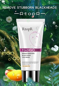 Mango Blackhead Remover Acne Treatment Nose Oil-control Mud Pore Strip Mask Whitening Cream Peel off Mask Nose Peel Skin Care How To Remove Pimples, How To Get Rid Of Acne, Remove Acne, Nose Peeling, Back Acne Treatment, Pore Strips, Blackhead Remover, Pimple Remover, Clean Pores