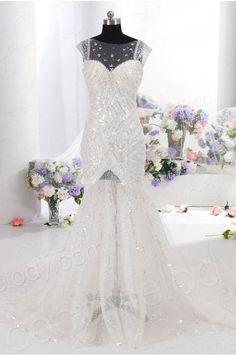 Luxurious Trumpet-Mermaid Bateau Natural Train Tulle Ivory Cap Sleeve Open Back Wedding Dress with Sequin CWAT14005 #weddingdress #cocomelody