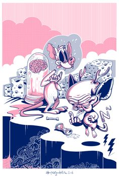 """Pinky and The Brain"" / 90'z Screenprint Exhibition on Behance"