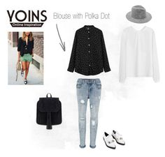 """YOINS - Blouse with Polka Dot"" by shailene-ivera ❤ liked on Polyvore featuring women's clothing, women's fashion, women, female, woman, misses, juniors and yoins"