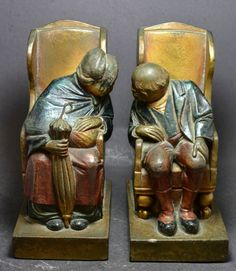 Armor Bronze Set of Two Old Couple Bookends Industrial Bookends, Wooden Bookends, Old Couples, I Remember When, Desk Accessories, Book Art, Objects, Bronze, Deco