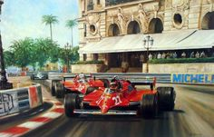 """VILLENEUVE"" by Alan Fearnley Gilles Villeneuve coming through Casino Square on his way to victory in the 1981 Monaco Grand Prix driving a Ferrari 126CK. Limited edition framed print - signed by the artist and Mauro Forghieri the Ferrari Formula One designer of the time."