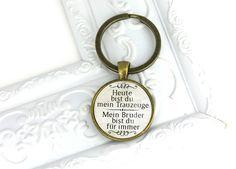 Ein toller bronze farbener Schlüsselanhänger mit der Aufschrift :Heute bist du mein Trauzgeuge- Mein Bruder bist du für immer. Ein schönes, besonderes und persönliches Geschenk für deinen...