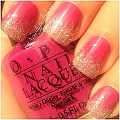 From @newlypolished on Instagram: OPI NL E13  All Sparkly And Gold (Mariah Carey Holiday Collection) on OPI NL W51 All That Razz-berry 15mL 0.5fl oz