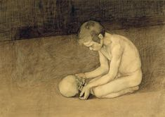 Enckell, Magnus - 1893 Young Boy and Skull (Ateneum Art Museum, Helsinki, Finland) Meaningful Paintings, Horror, Google Art Project, Male Figure, Skull And Bones, Memento Mori, Young Boys, Cello, Figure Painting