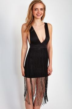 Low Cut Fringe Bodycon Dress