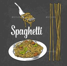 Spaghetti on fork and plate. Vector engraving illustration isolated on vintage background.