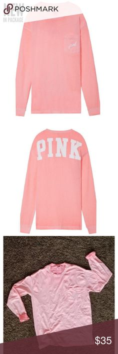 NWT VS PINK Long Sleeve Campus Tee Size M Color: Coral Blossom  Brand new in packaging. Opened only for picture purpose.   -Over sized fit, and its a perfect Coral color! PINK Victoria's Secret Tops Tees - Long Sleeve