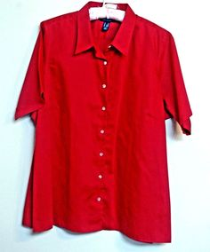 a8632eb2e10 Lands End 2X Womens Shirt Classic Red Solid Top Short Sleeves 100% Cotton   LandsEnd
