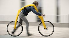 The Fliz is a bike designed in such a way that the rider hangs from the frame and scoots along with their feet.
