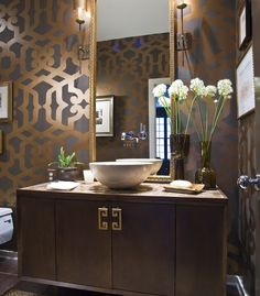 Stunning bath with stenciled walls