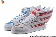 Sale Cheap Adidas X Jeremy Scott Wings 2.0 USA Flag Villi Shoes Red Blue Fashion Shoes Store
