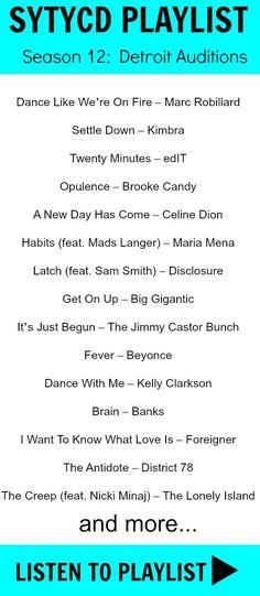 SYTYCD Season 12 Detroit Auditions Music Playlist...