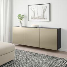 IKEA BESTA Black-Brown, Riksviken Light Bronze Effect Wall-mounted cabinet combination Soft Closing Hinges, Bronze, Bedroom Layouts, Interior Accessories, Adjustable Shelving, Black And Brown, Design Inspiration, Cabinet, Living Room