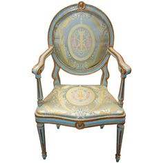 Italian Neo Classical painted and gilt-wood open armchair/ Late century with original coloring. Molded top and seat rail centered by portrait medallion. Fine Furniture, Contemporary Furniture, Furniture Design, Cool Chairs, Side Chairs, Restoration Hardware Dining Chairs, Painted Chairs, Empire Style, Neoclassical