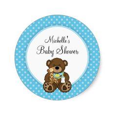 Baby Bear Blue Polka Dots Boy Baby Shower Round Stickers
