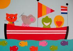 BEESTENBOOT Kinderkamer kunst voor op de kinderkamer en babykamer.