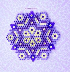 Purple Ornament made with Hama Beads Square size: 13cm