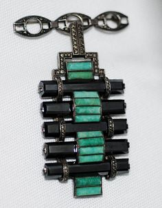 art deco theodor fahrner sterling silver brooch with marcasite, amazonite, and hematite