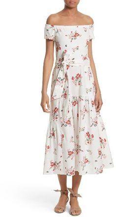 Women's Rebecca Taylor Marguerite Floral Off The Shoulder Midi Dress