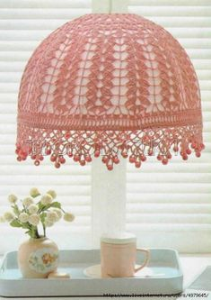 Bohemian DIY Decor: 10 Projects for a Colorful, Layered & Eclectic Look. this Crochet lampshade is really nice! Blog Crochet, Thread Crochet, Crochet Crafts, Crochet Projects, Free Crochet, Crochet Lampshade, Crochet Doilies, Lace Lampshade, Crochet Designs