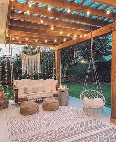 Backyard Patio Designs, Backyard Projects, Backyard Porch Ideas, Backyard Shade, Backyard Pools, Balcony Ideas, Backyard Landscaping, Back Yard Patio Ideas, Backyard Swings