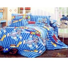 Stripe Brushed Blue Tom And Jerry Bedding